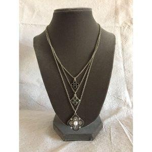 Celtic Triple Strand Pendant Silver Necklace Set